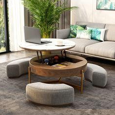 Round Lift-Top Coffee Table with Storage & 3 Ottoman White&Natural/White&Black Coffee Table With Seating, Lift Top Coffee Table, Coffee Table With Storage, Coffee Table With Sectional, White Round Coffee Table, Footstool Coffee Table, Stylish Coffee Table, Coffe Table, My Living Room