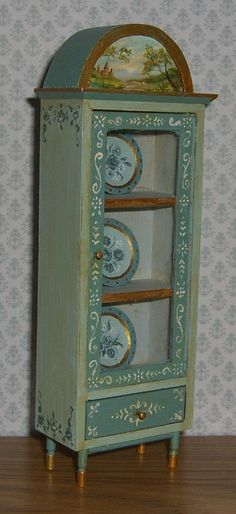 Details About Dollhouse Mini Painted Alice In Wonderland Curio Cabinet Plates L Lige Ooak Cabinets The And Miniature