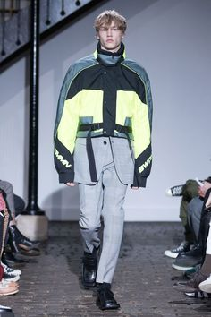 CMMN SWDN Fall Winter 2018 Menswear Collection - Plaid suit and neon yellow jacket