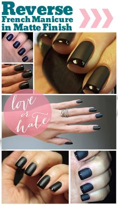 Matte Reverse French Manicure