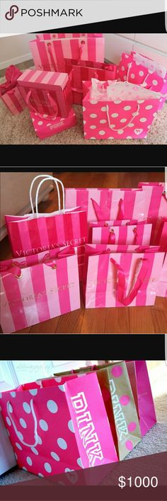I am looking for ... iso I am looking for a large number of victoria's secret shopping bags. Keep in mind these people get for free so I am not willing to pay a crazy amount for them but I will pay for a bundle. I need alot of them. At least 20 or more. Love the ones in the pictures above.  Let me know what you have . Thanks PINK Victoria's Secret Other