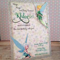 Tinkerbell Periwinkle Secret of the wings Fairy Silver glitter Handmade Invitation Birthday Wedding Sweet Sixteen 16 Baby Shower