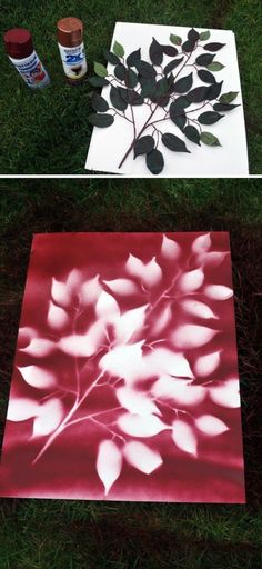 DIY Spray Paint Leaf Art.