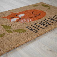 Paillasson chien et chat hipster en fibre naturelle de coco format rectangulaire 45 x 75 cm - Tapis en fibre naturelle ...