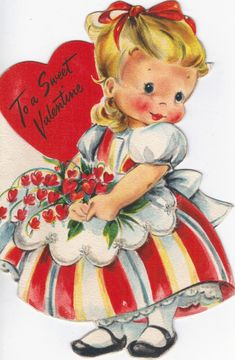 Vintage Valentine card with sweet little girl. Valentine Images, My Funny Valentine, Vintage Valentine Cards, Vintage Holiday, Valentine Day Cards, Valentine Crafts, Happy Valentines Day, Vintage Year, Hallmark Greeting Cards