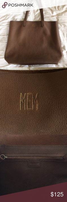 "Madewell Transport Tote Monogrammed ""MEM"" in gold, but the gold has been flaking off Madewell Bags"