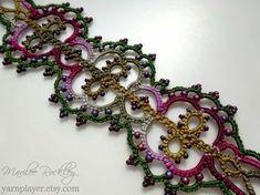 "Yarnplayer's Tatting Blog: ""Prairie Dusk"" hand dyed thread and ""Linnea"" bracelet by Marilee Rockley #tatting #jewelry"