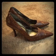 Like New Brown Studded Heels Barely worn awesome brown gold studded pumps! Different patterns of leather make these heels so fun and stylish! Size 8 Shoes Heels