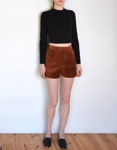 90's suede shorts high waisted hot pants retro by WoodhouseStudios
