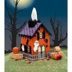 Mary Maxim - Haunted House Tissue Box Cover - Adorable cover for your tissue… Casa Halloween, Halloween Canvas, Halloween Haunted Houses, Halloween Projects, Halloween Village, Haunted Dolls, Plastic Canvas Tissue Boxes, Plastic Canvas Crafts, Plastic Canvas Patterns