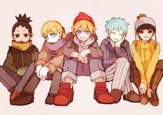 Shikadai, Inojin, Boruto, Mitsuki, and Metal Lee #winterclothes