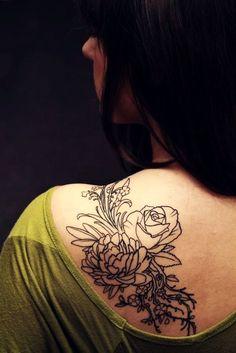 flower shoulder tattoo for girls #rose #flower # tattoo #shoulder