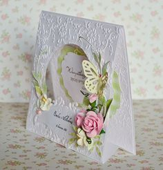 handmade tent card ... shabby chic ... artificial flower & punched butterfly ... beautiful way to display a greeting ...