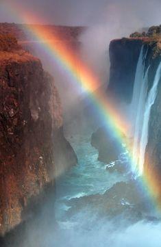 Victoria Falls | Zambia (by David Kiene) #Landscape #africa #rainbow #zambia #victoria falls #waterfalls #waterfall #david kiene #water #river #nature