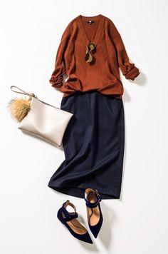 Burned orange and marine Fashion Mode, Japan Fashion, Minimal Fashion, Modest Fashion, Hijab Fashion, Fashion Outfits, Womens Fashion, Best Casual Outfits, Fall Outfits