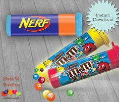 Nerf dart candy for bags Nerf Birthday Party, Nerf Party, Boy Birthday, Birthday Ideas, Pistola Nerf, Army Party, Party Favors, Creations, Candy Wrappers