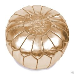Moroccan Leather Gold Pouf