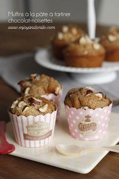 Gourmand et croquant, n'hésitez pas à tester ma recette de muffins à la pâte à tartiner chocolat-noisettes