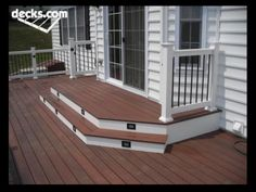 Find multi level decks design ideas to help you design and planning your custom multi level deck & beautify your backyard with this complete guide. Patio Steps, Ground Level Deck, Deck Pictures, Building A Porch, Diy Deck, House With Porch, Decks And Porches, Back Doors, Backyard Patio