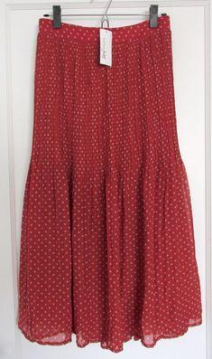 2c8cd1b290 New Women's XXL 16 Maison Jules Burnt Brick Red Dot Maxi Skirt Lined NWT  #fashion