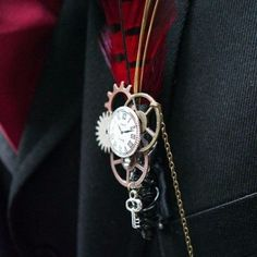 clocks, gears and a small key for a boutonniere