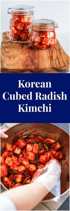 How to make authentic radish kimchi - KKakdugi. Kkakdugi is Korean cubed radish kimchi made with daikon. Korean Side Dishes, Radish Kimchi, Kimchi Kimchi, Asian Recipes, Healthy Recipes, Keto Recipes, Healthy Food, Korean Kitchen, Korean Food