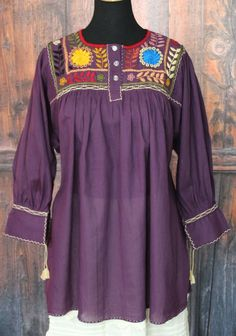 be9818b55fb Purple Hand Embroidered Blouse Chiapas Mexican - Frida Kahlo
