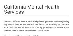 Contact California Mental Health Helpline to get consultation regarding any mental disorder. Our team of specialists can also help you connect with California mental health services by providing information about the best mental health care centers.