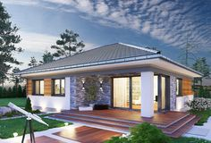 15 Sophisticated Bungalows That Never Go Out of Style Modern Bungalow House, Bungalow House Plans, Modern Bungalow Exterior, House Plans Mansion, Dream House Plans, Village House Design, Village Houses, House Layout Plans, House Layouts
