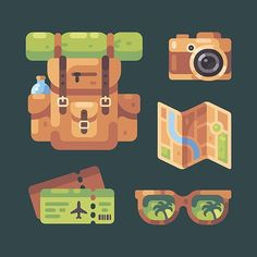 Travel time! 2018 vs 2017  .  #flat  #design #flatdesign #vector #illustration #vectorart #digitalart #adobeillustrator #art #icon #travel #traveltime #summer #vacation #backpack #tourist #map #packing #camping