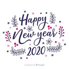 Lettering happy new year 2020 on white background Free Vector