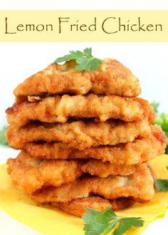 Easy lemon fried chicken recipe to make delicious, golden, crispy chicken breast.