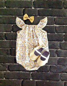 Baby girl romper flutter sleeve romper by SunnyAfternoonBaby