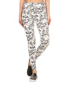 White & Gray Floral Leggings