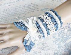 Dusky Blue Victorian Lace Cuff Bracelet Lace by LaVieilleLune