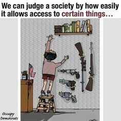 This single panel cartoon uses satire to comment on the social issue of gun regulation. The artist uses the contrast between banned books and guns to convey the message that certain things in our society need to change.