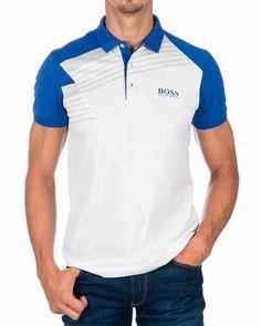 Polo HUGO BOSS ® Paddy Pro 1 Blanco y Azul | ENVIO GRATIS Polo Shirt Outfits, Mens Polo T Shirts, Collar Shirts, Camisa Polo, Burberry Men, Gucci Men, G Shock Men, Hermes Men, Tom Ford Men
