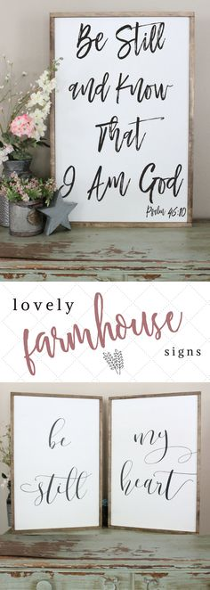What I love about these signs, is that they are encouraging! They are wonderful reminder every day that God is with us! Plus, amazing farmhouse decor is sure to brighten any home. I need these in my bedroom! #farmhousesigns #farmhousedecor #rusticsigns #rusticdecor #farmhousebedroom #farmhousekitchen #farmhouselivingroom #farmhousedining