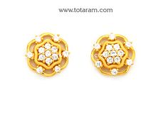 Gold Earrings for Women in 22K Gold with Cz - GER6627 - Indian Jewelry from Totaram Jewelers