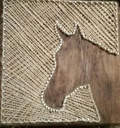 Horse String Art Custom/handmade with string that resembles hay baling string.  Comes with sawtooth hanger attached to back.  Great for horse