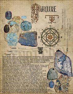 Turquoise, Book of Shadows printable page. Wiccan Spells, Magick, Witchcraft, Pagan, Crystal Healing Stones, Crystal Magic, Crystals And Gemstones, Stones And Crystals, Magic Herbs