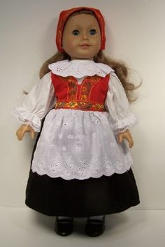 Norwegian Norway National Costume Dress Doll Clothes For AMERICAN GIRL DEBs #NationalCostume