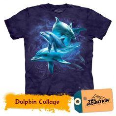 Tricouri The Mountain – Tricou Dolphin Collage Dolphins, Collage, Mountain, 3d, Mens Tops, T Shirt, Tee, Collage Art, Collages