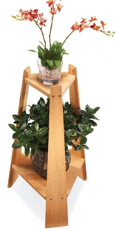 Mission Plant Stand By Dave Munkittrick Here's a great project for displaying houseplants and adding a little charm to any corner of your house. The tripod leg design is rock-steady, even on a tiled or uneven floor. The wide bottom shelf can hold a large potted plant and anchors the stand both visually and physically. The open top shelf can handle a variety of plant or pot shapes and sizes. …