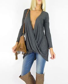 New Slouchy Tunic Charcoal Long Sleeve Knit Plunge Long Back Shirt Jersey Top S | eBay