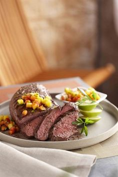 Grilled Tri-Tip Roast with Tropical Fruit Salsa. A great main course dinner!
