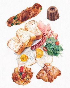 You study in France 😀 From above, potat Watercolor Food, Watercolor Illustration, Watercolor Paintings, Chibi Food, Food Sketch, Fruit Painting, Food Concept, Tropical Art, Fake Food