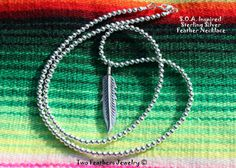SOA Inspired Sterling Silver Feather Necklace - Sterling Silver Necklace - Sons Of Anarchy Inspired - Biker Jewelry - Made In USA
