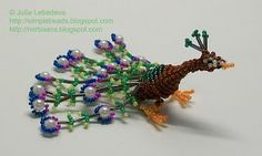 peacock with beads and wire-free tutorial