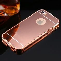 For iPhone 5 5S SE Mirror Back Capa Ultrathin Alumimum Metal Frame Phone Case For iPhone 5 5S SE Luxury Hybrid Protective Cover